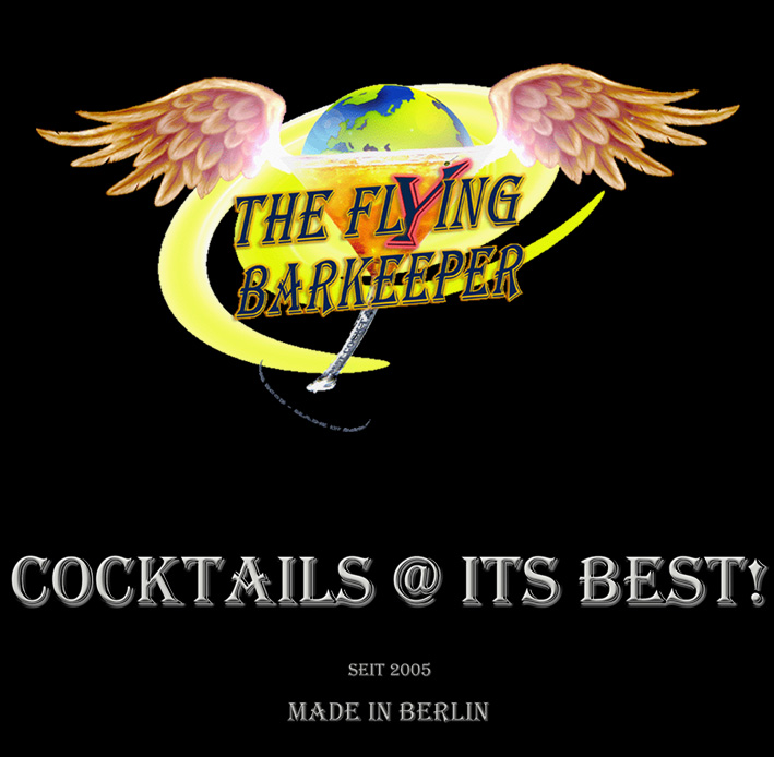 The Flying Barkeeper Header mit Logo Cocktails @ its best!